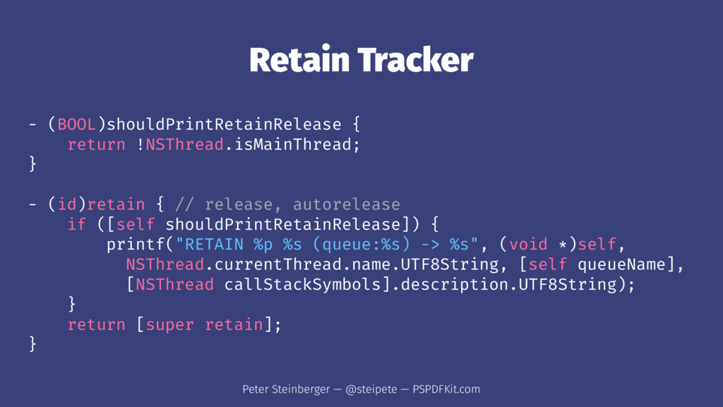 Retain Tracker - (BOOL)shouldPrintRetainRelease...