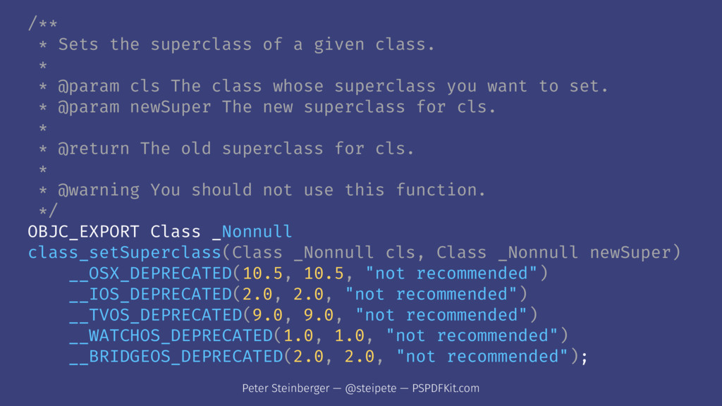 /** * Sets the superclass of a given class. * *...