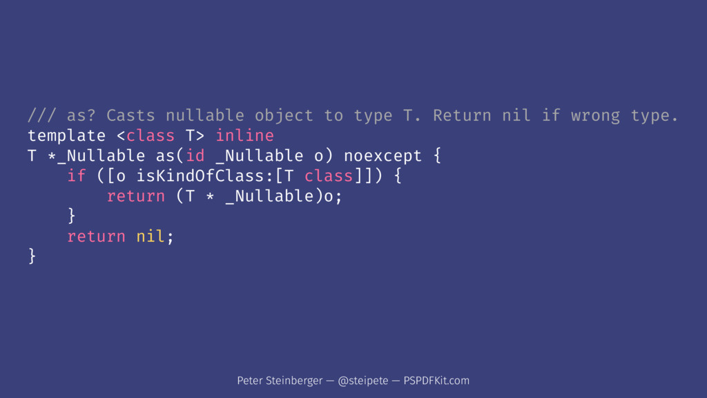/// as? Casts nullable object to type T. Return...