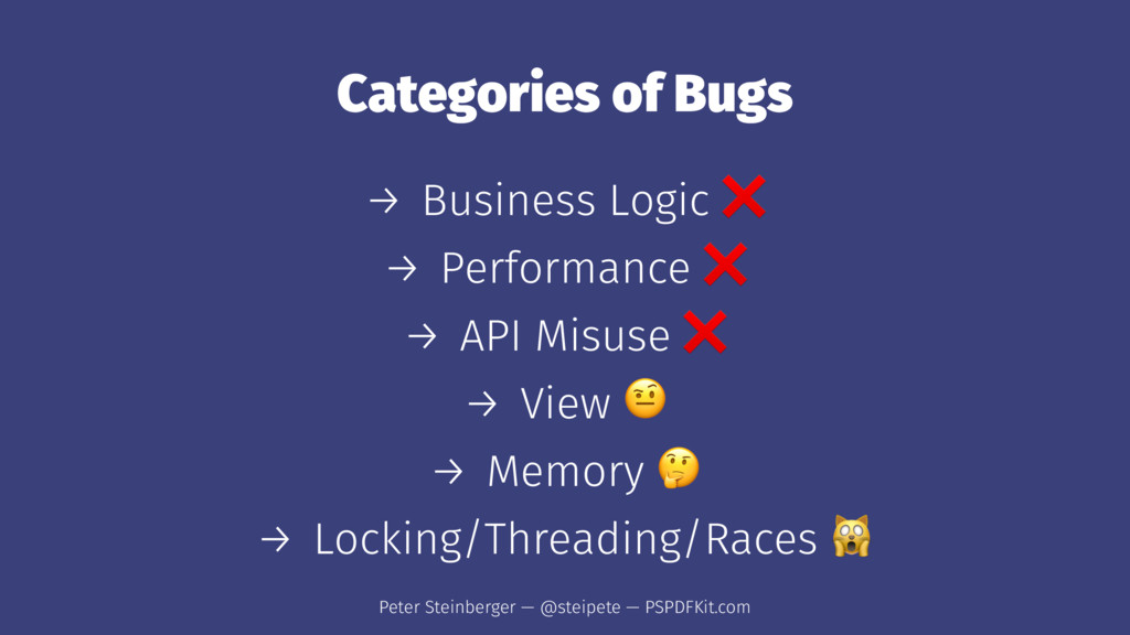 Categories of Bugs → Business Logic → Performan...