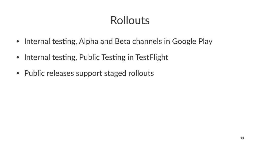 Rollouts • Internal tes+ng, Alpha and Beta chan...