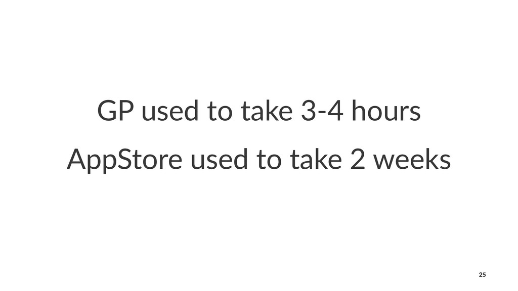 GP used to take 3-4 hours AppStore used to take...