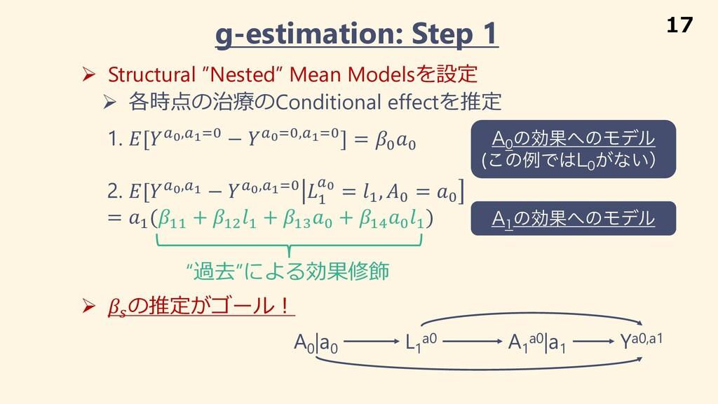 "g-estimation: Step 1 Ø Structural ""Nested"" Mean..."
