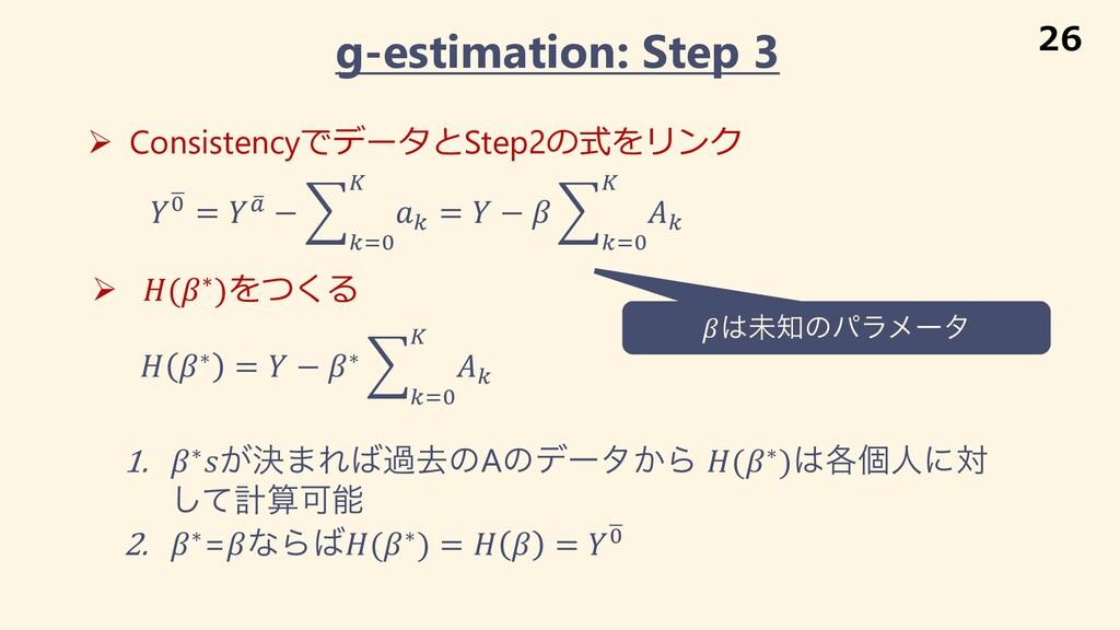 g-estimation: Step 3 Ø ConsistencyでデータとStep2の式を...