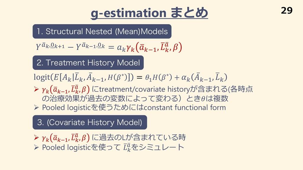 g-estimation まとめ Ø * 1 *+% , 1 * , -,  にtreatme...