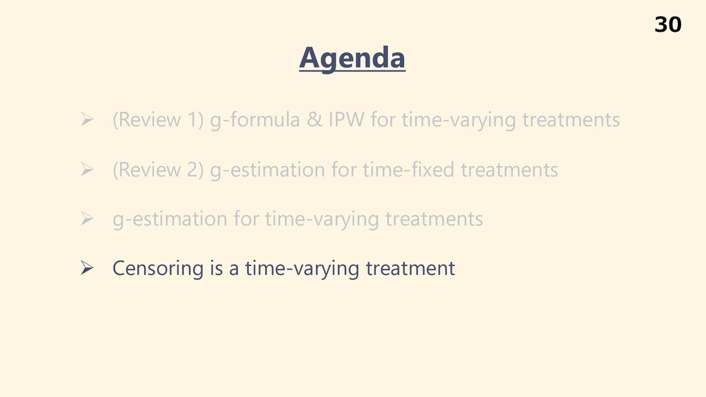 Ø (Review 1) g-formula & IPW for time-varying t...