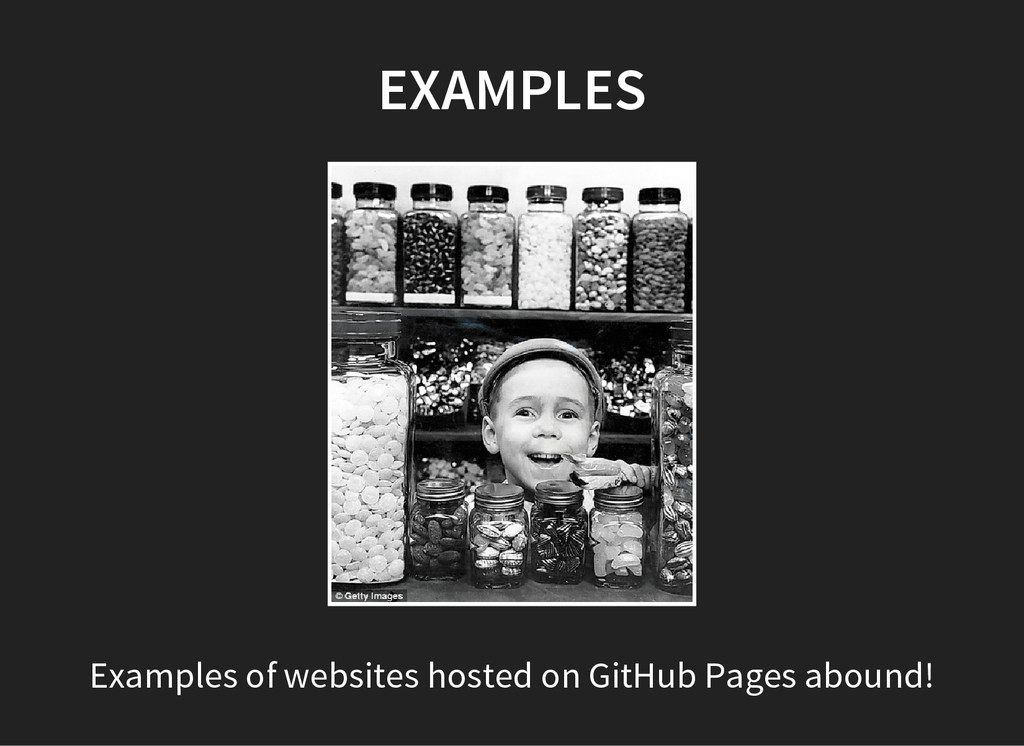 EXAMPLES Examples of websites hosted on GitHub ...