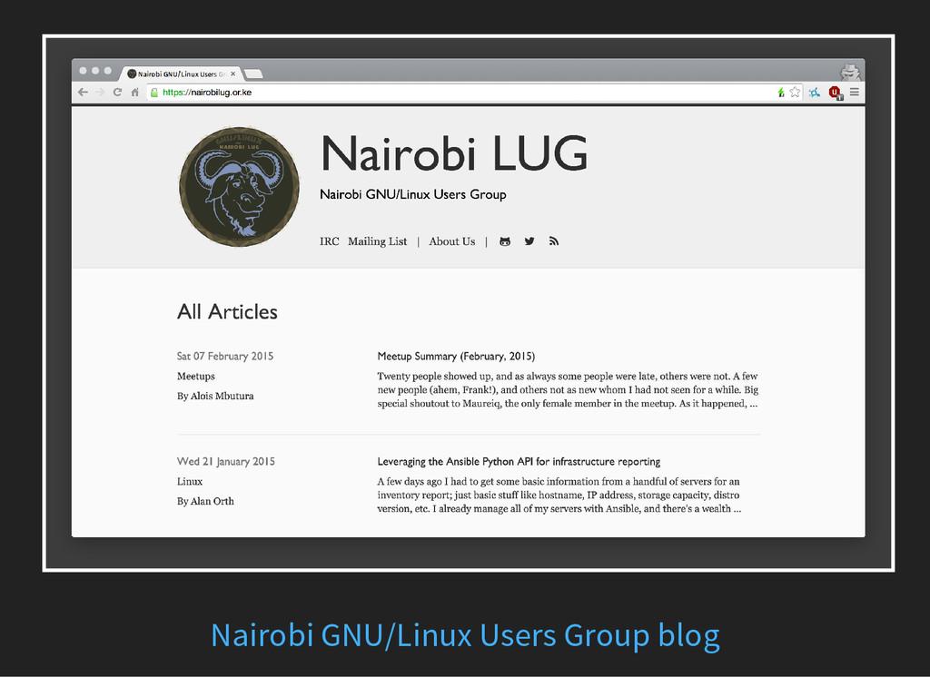 Nairobi GNU/Linux Users Group blog