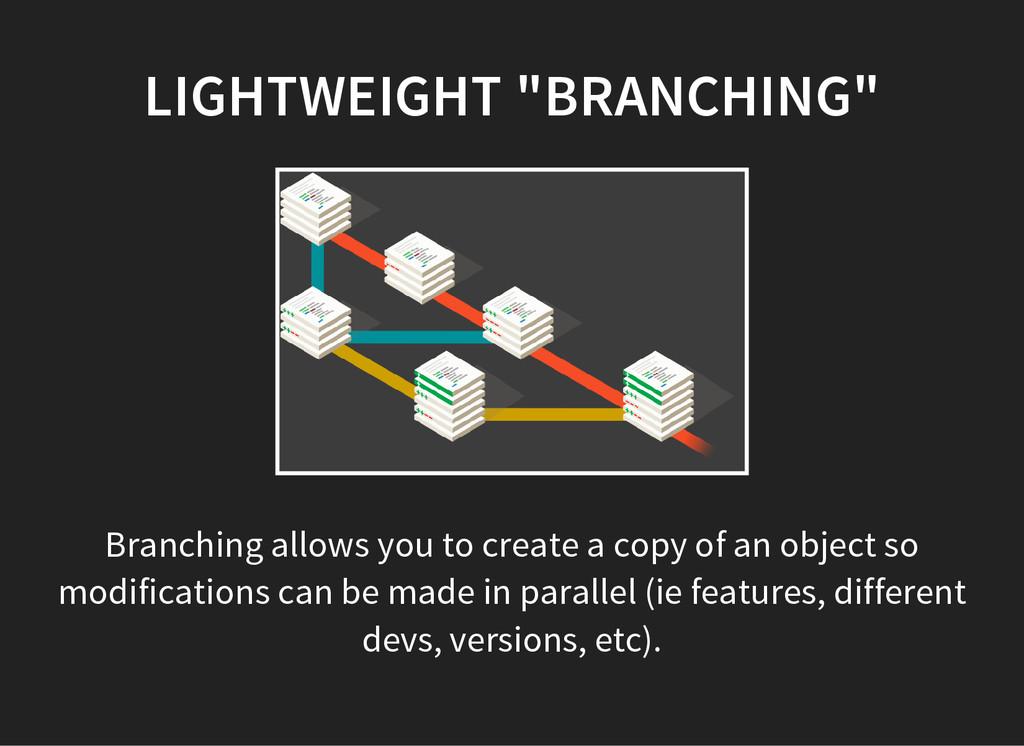 "LIGHTWEIGHT ""BRANCHING"" Branching allows you to..."