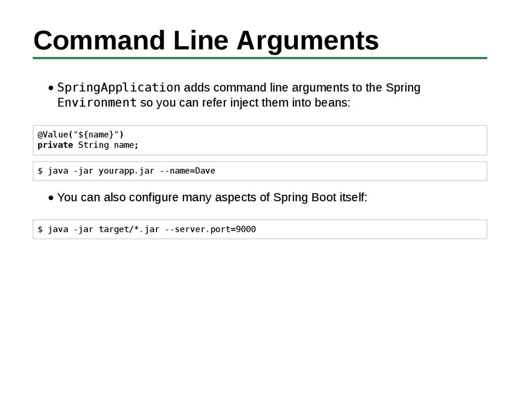 Command Line Arguments SpringApplication adds c...