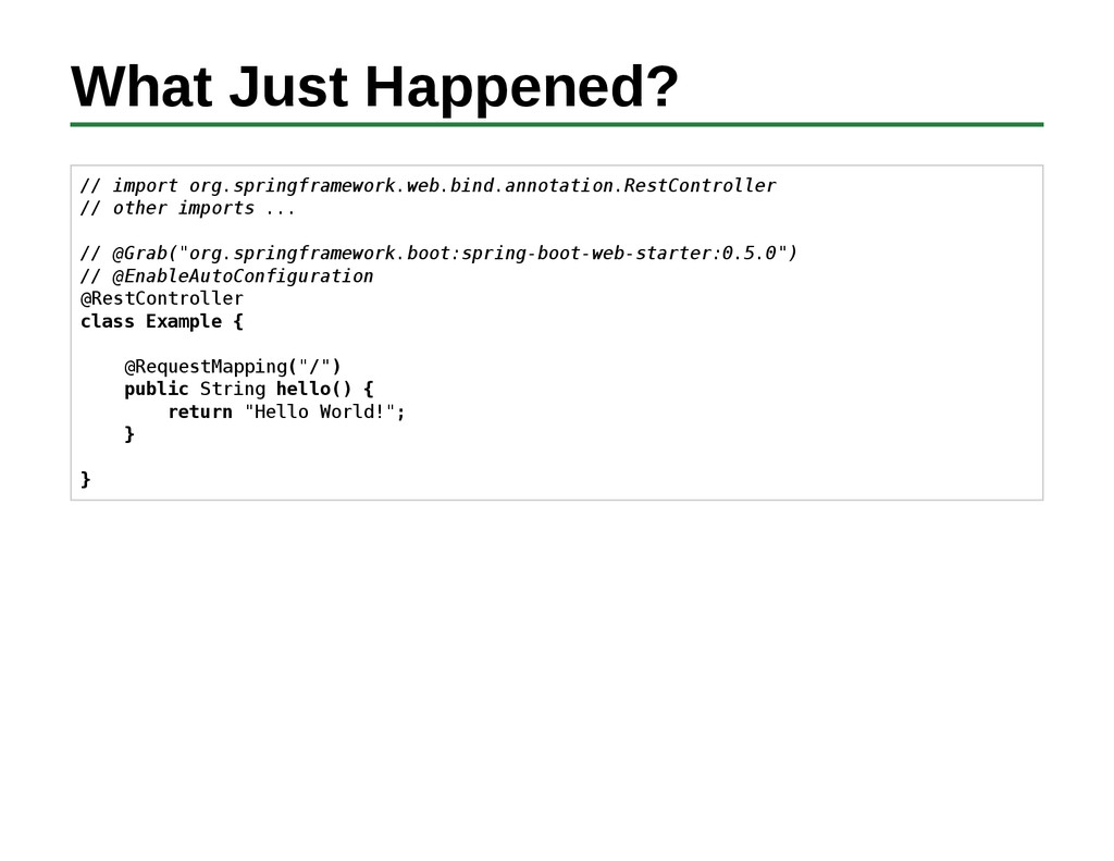 What Just Happened? // import org.springframewo...