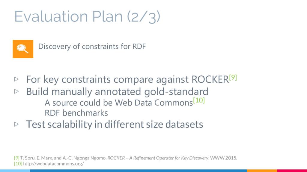 Evaluation Plan (2/3) ▷ For key constraints com...