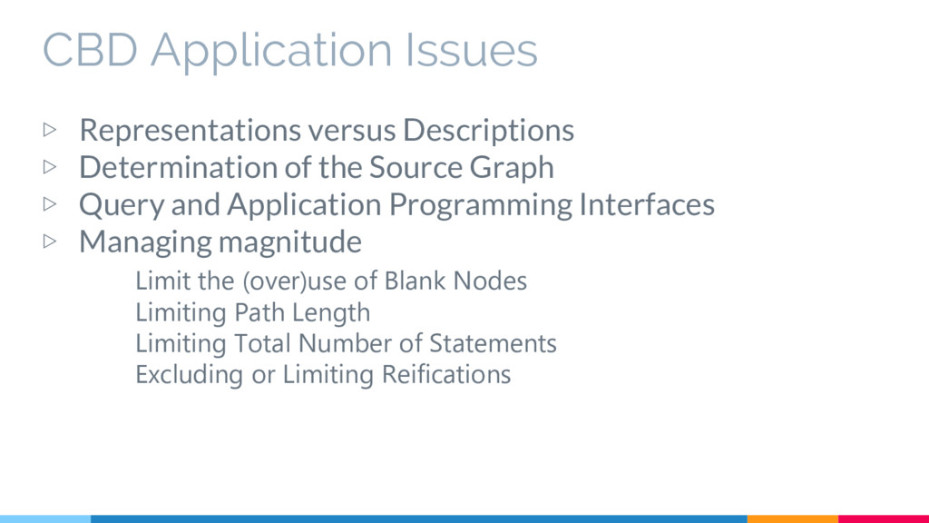 CBD Application Issues ▷ Representations versus...