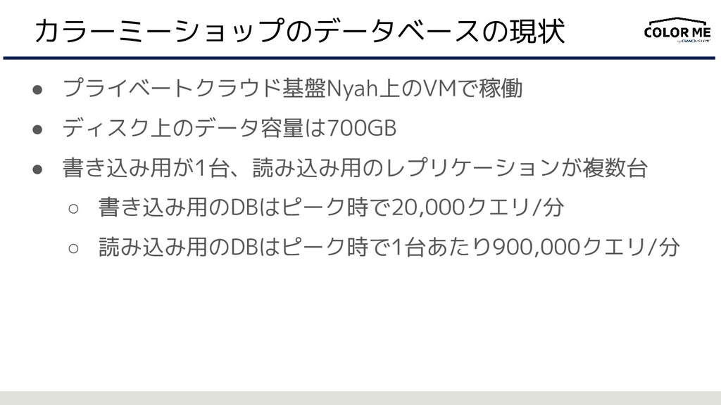 カラーミーショップのデータベースの現状 ● プライベートクラウド基盤Nyah上のVMで稼働 ●...