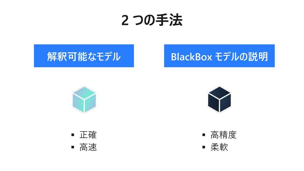 解釈可能なモデル BlackBox モデルの説明 ▪ 正確 ▪ 高速 ▪ 高精度 ▪ 柔軟