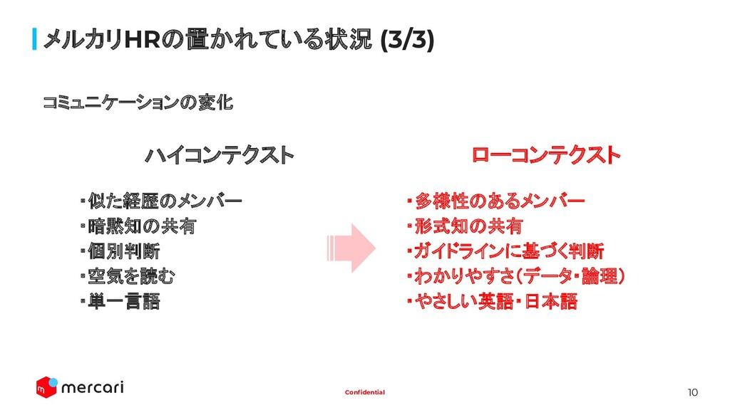 10 Confidential メルカリHRの置かれている状況 (3/3) コミュニケーションの...
