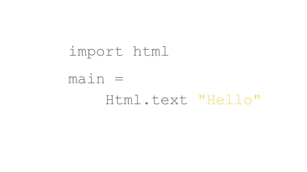 """import html main = Html.text """"Hello"""""""