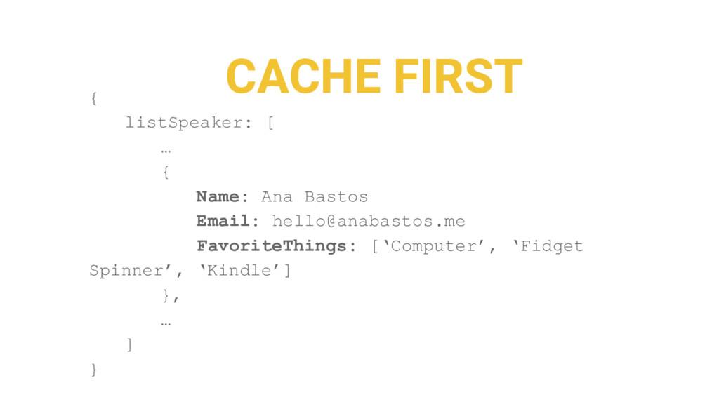 CACHE FIRST { listSpeaker: [ … { Name: Ana Bast...