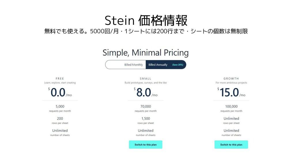 Stein 価格情報 無料でも使える。5000回/月・1シートには200行まで・シートの個数は...