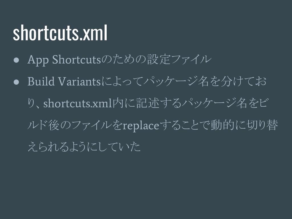 shortcuts.xml ● App Shortcuts のための設定ファイル ● Buil...