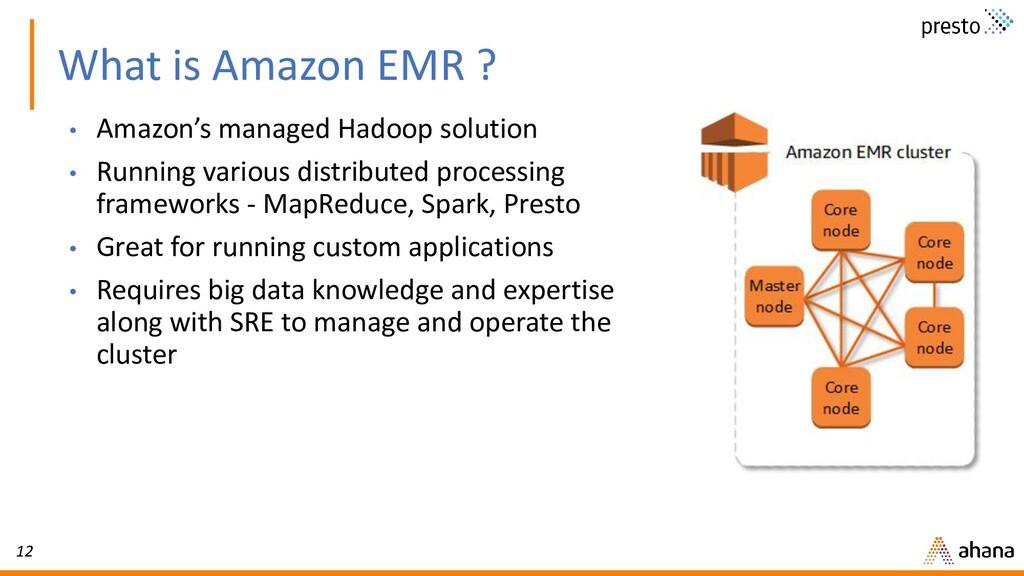 12 What is Amazon EMR ? • Amazon's managed Hado...