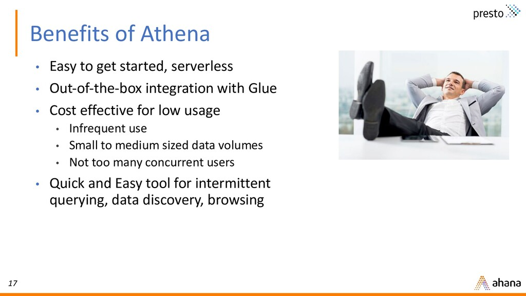 17 Benefits of Athena • Easy to get started, se...