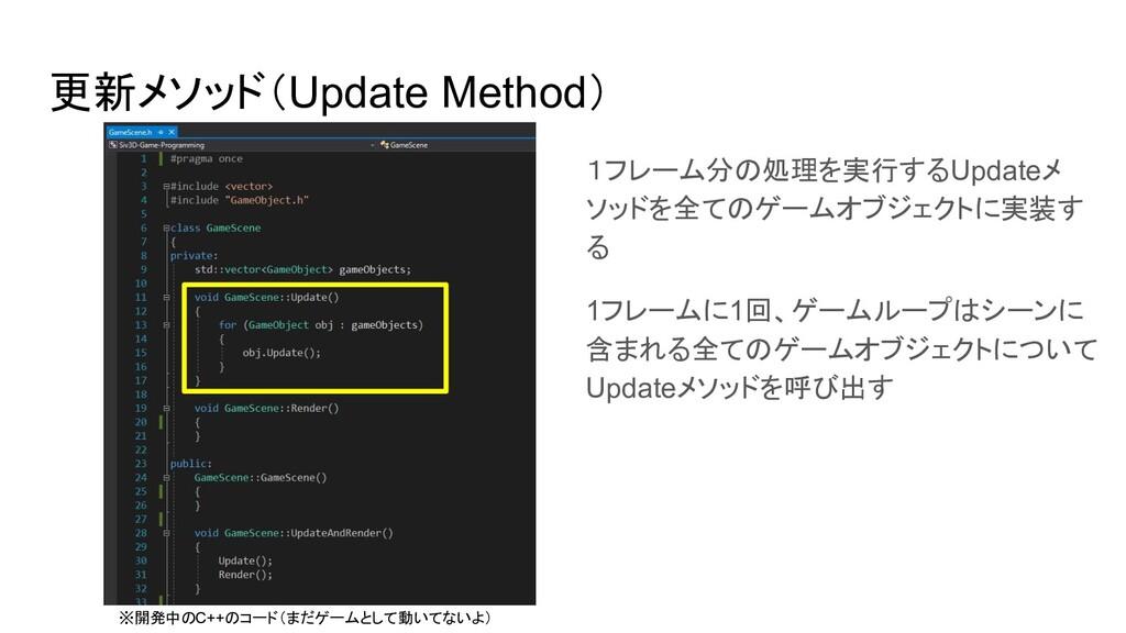 更新メソッド(Update Method) 1フレーム分の処理を実行するUpdateメ ソッド...