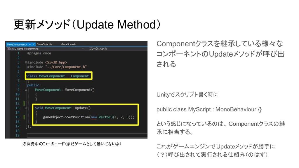 更新メソッド(Update Method) Componentクラスを継承している様々な コン...