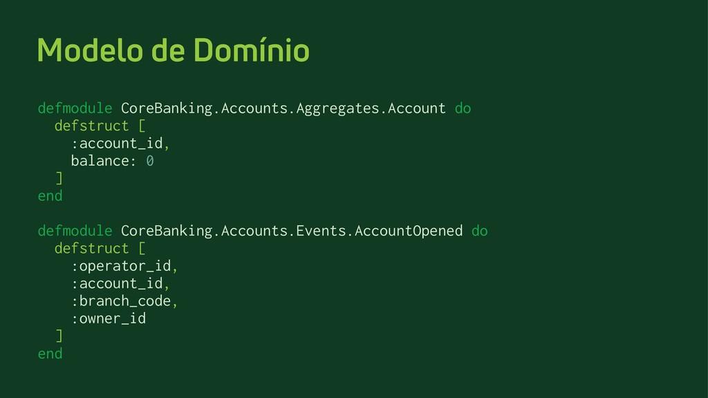 Modelo de Domínio defmodule CoreBanking.Account...