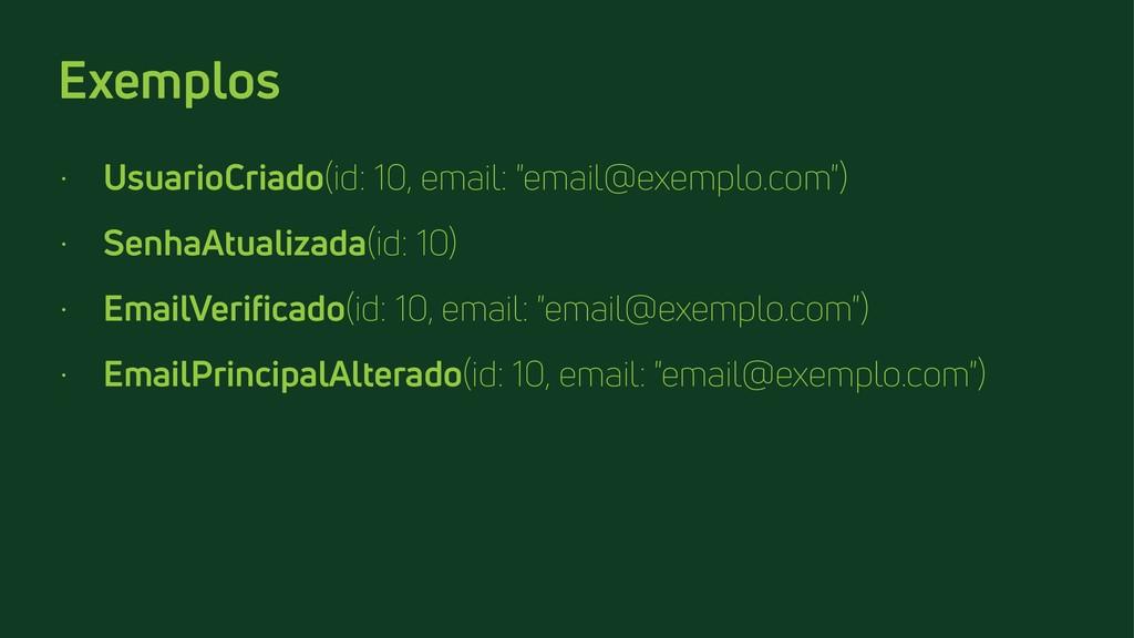 "Exemplos • UsuarioCriado(id: 10, email: ""email@..."
