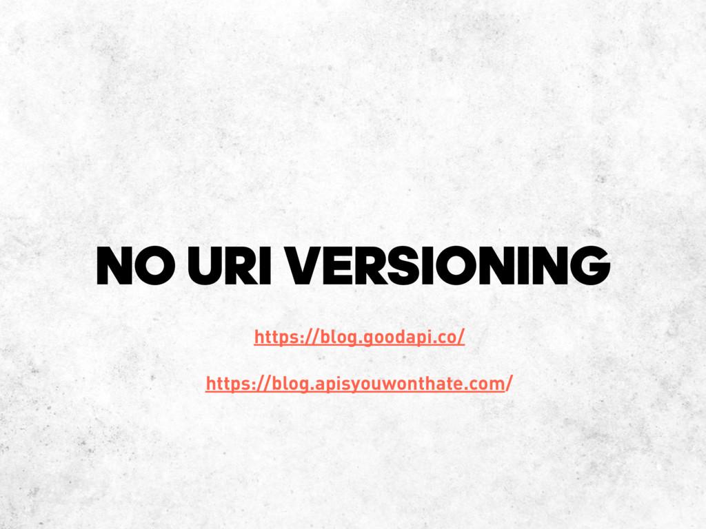 NO URI VERSIONING https://blog.goodapi.co/ http...