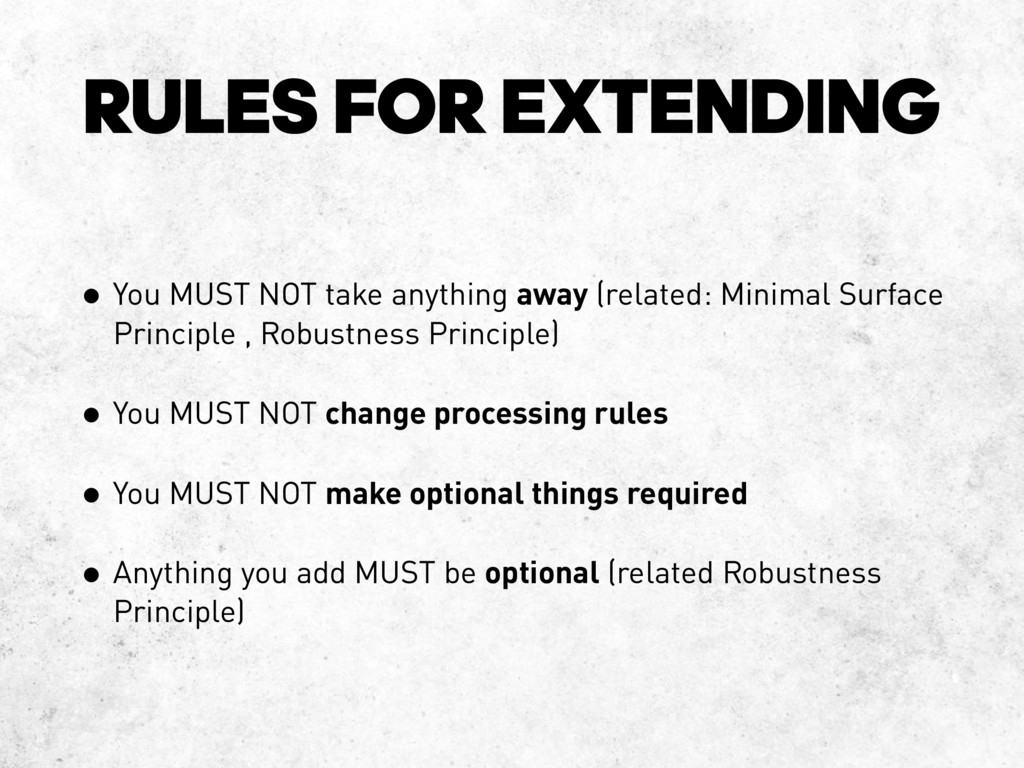 RULES FOR EXTENDING • You MUST NOT take anythin...