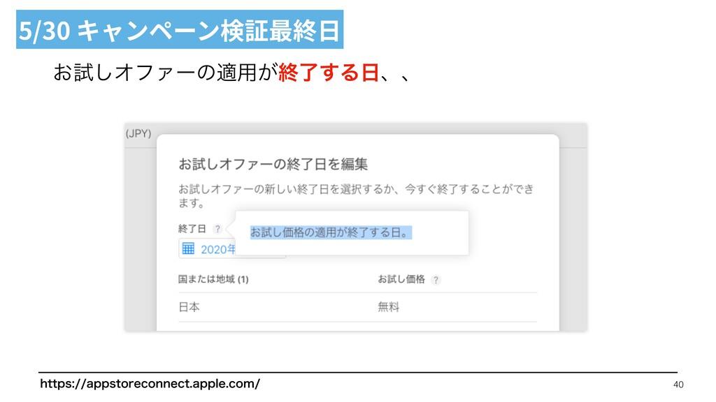 ͓ࢼ͠ΦϑΝʔͷద༻͕ऴྃ͢Δɺɺ 5/30 キャンペーン検証最終⽇ 40 IUUQT...