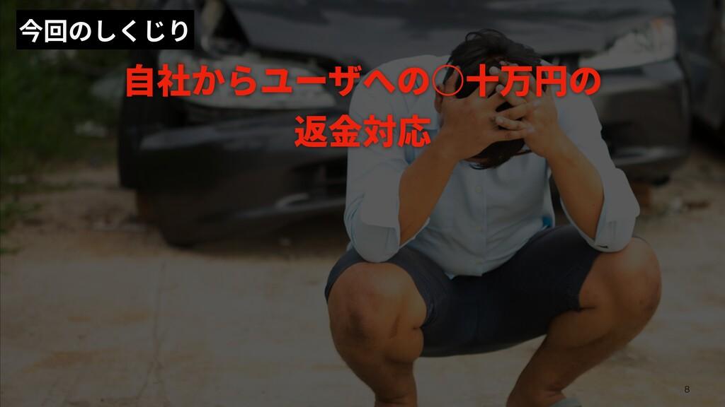 今回のしくじり ⾃社からユーザへの○⼗万円の 返⾦対応 8