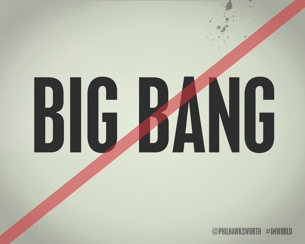 @PHILHAWKSWORTH #IMWORLD BIG BANG