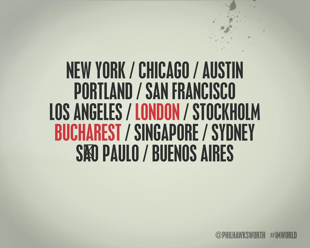 @PHILHAWKSWORTH #IMWORLD NEW YORK / CHICAGO / A...
