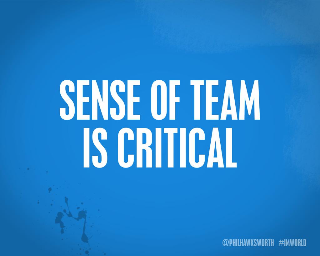 @PHILHAWKSWORTH #IMWORLD SENSE OF TEAM IS CRITI...
