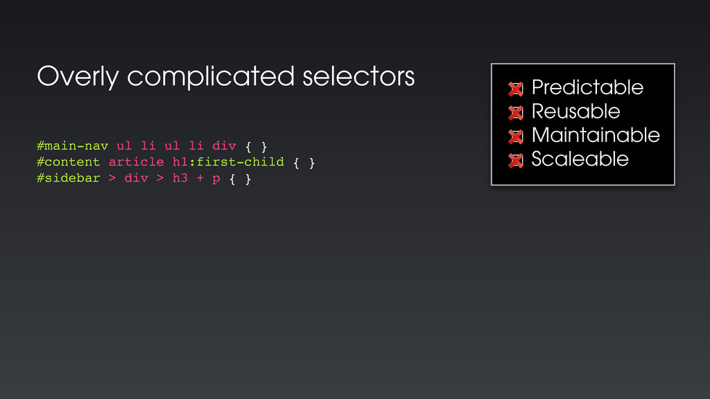 Overly complicated selectors #main-nav ul li ul...