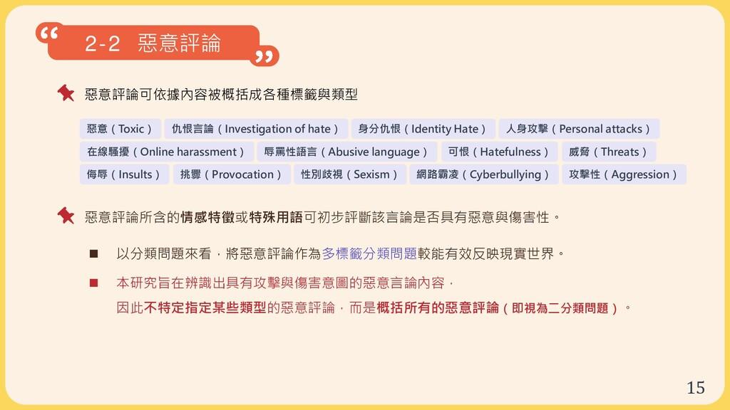 15 2-2 惡意評論 惡意評論可依據內容被概括成各種標籤與類型  以分類問題來看,將惡意評...