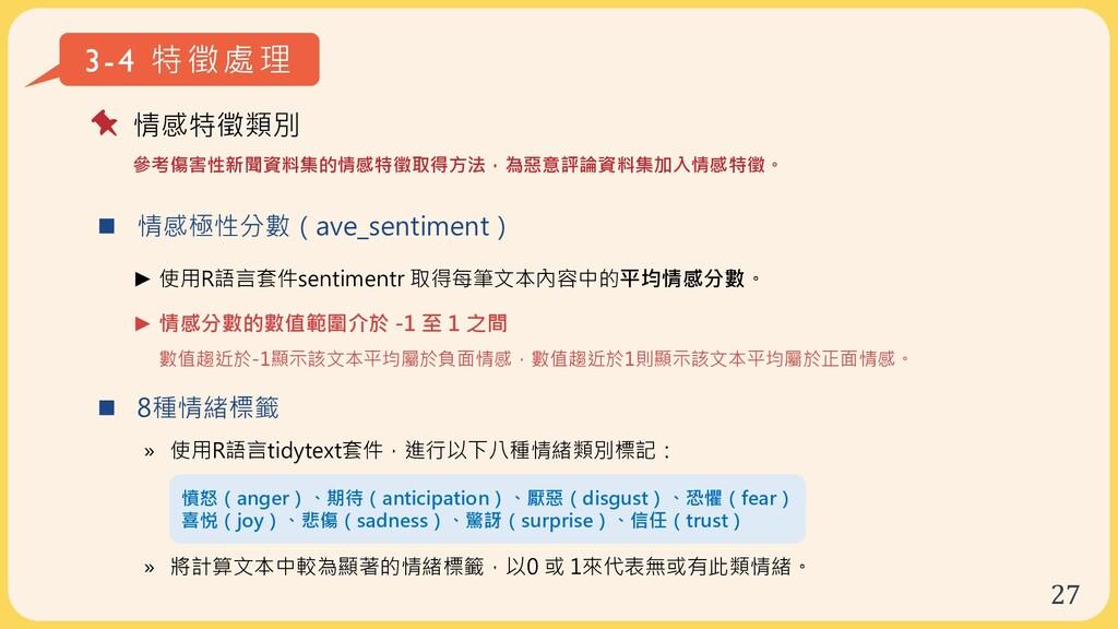 27  情感極性分數(ave_sentiment) ► 使用R語言套件sentimentr ...