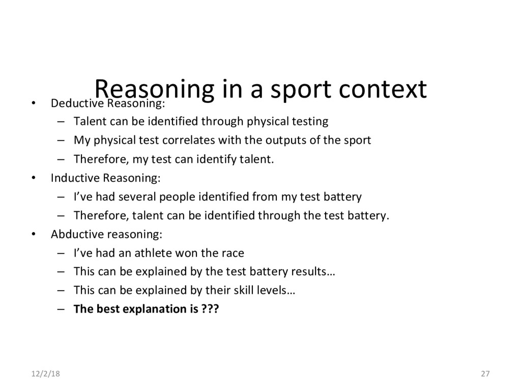 Reasoning in a sport context •  Deductive Reaso...