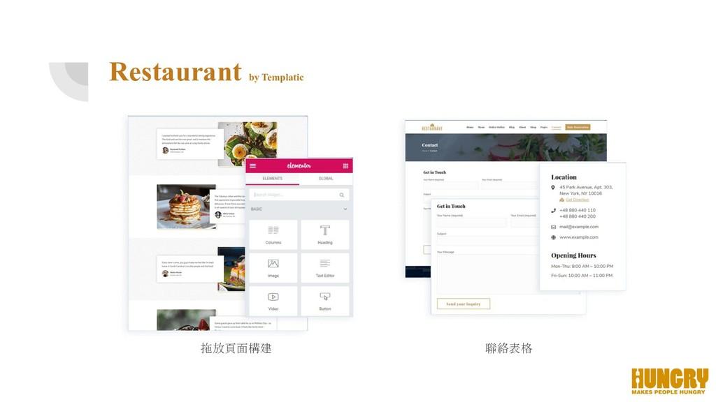 聯絡表格 拖放頁面構建 Restaurant by Templatic