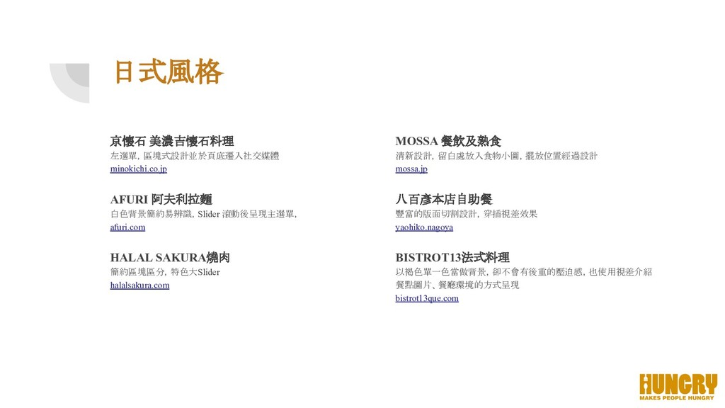 日式風格 京懷石 美濃吉懷石料理 左選單,區塊式設計並於頁底遷入社交媒體 minokichi....