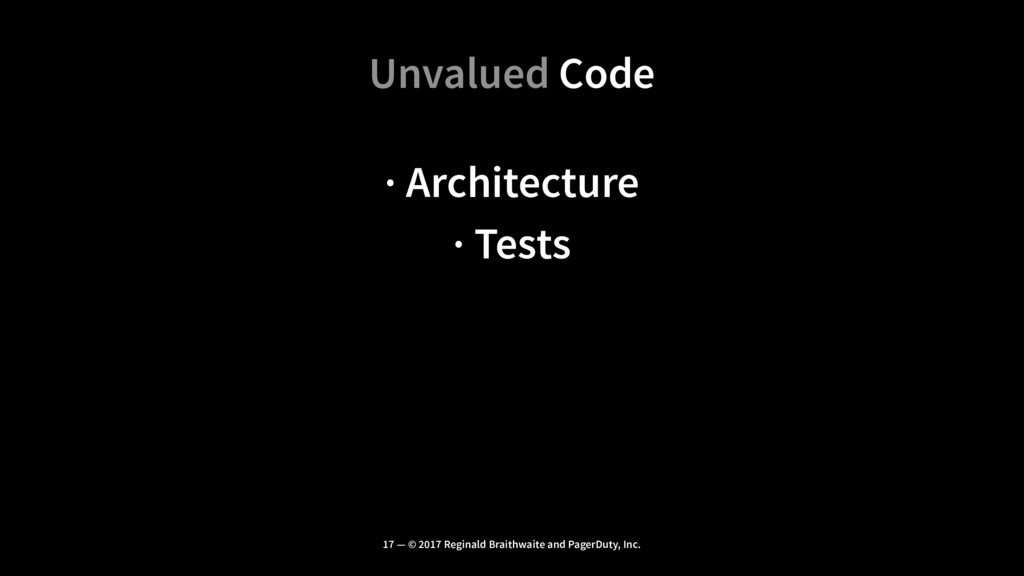 Unvalued Code · Architecture · Tests 17 — © 201...