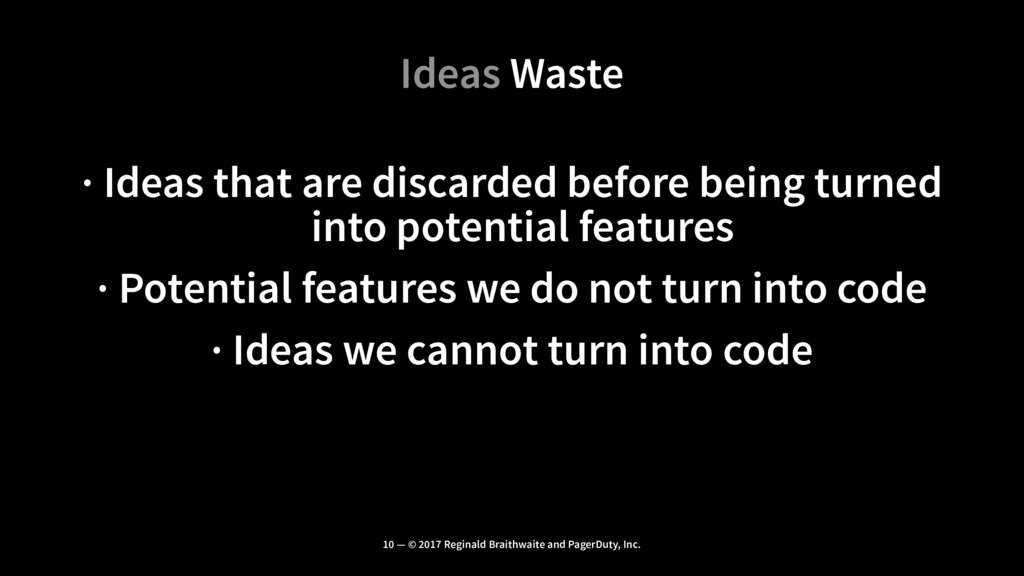 Ideas Waste · Ideas that are discarded before b...
