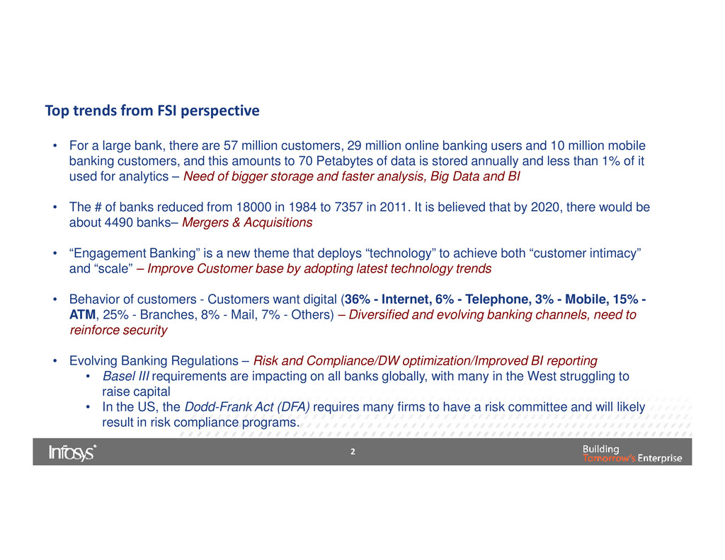 Top trends from FSI perspective • For a large b...