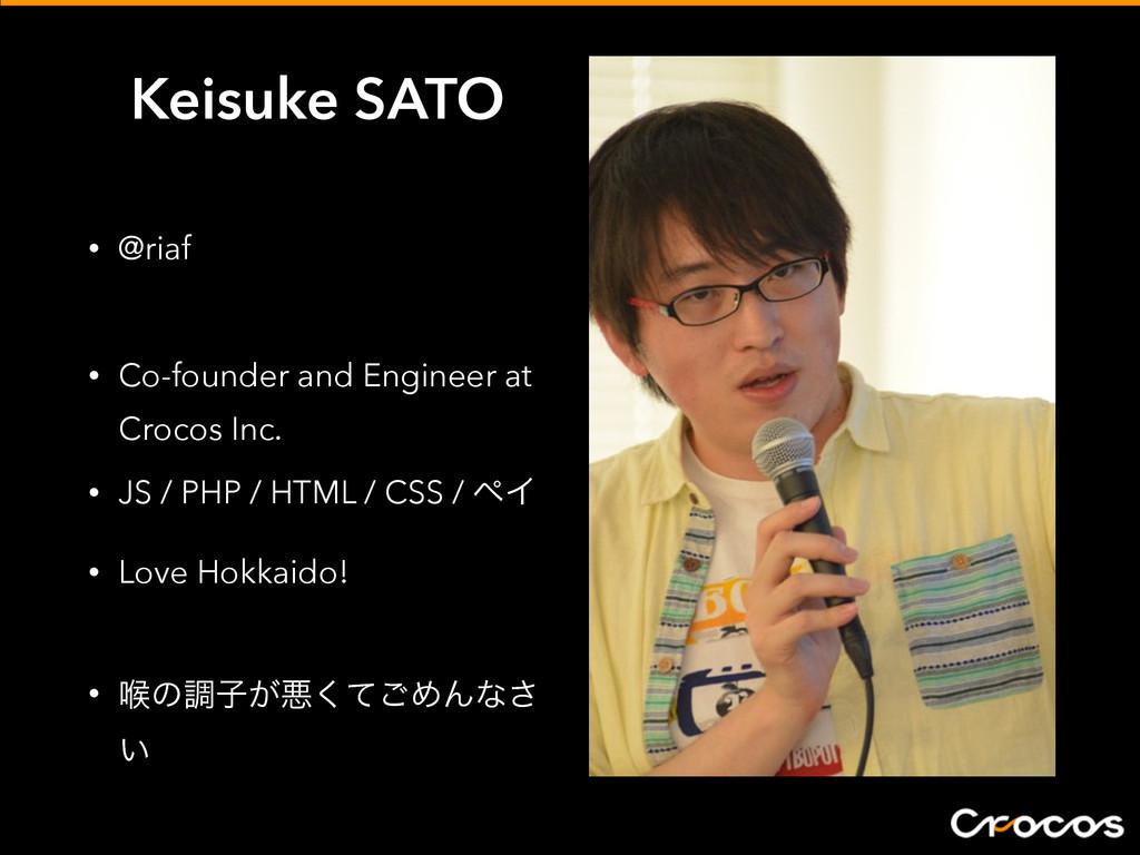Keisuke SATO • @riaf • Co-founder and Engineer ...