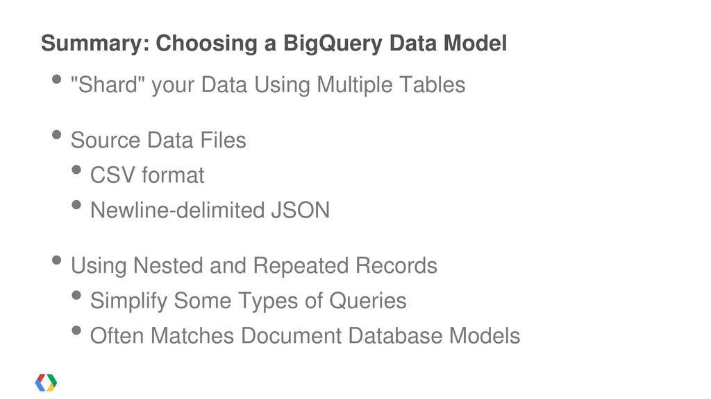 """Summary: Choosing a BigQuery Data Model • """"Shar..."""