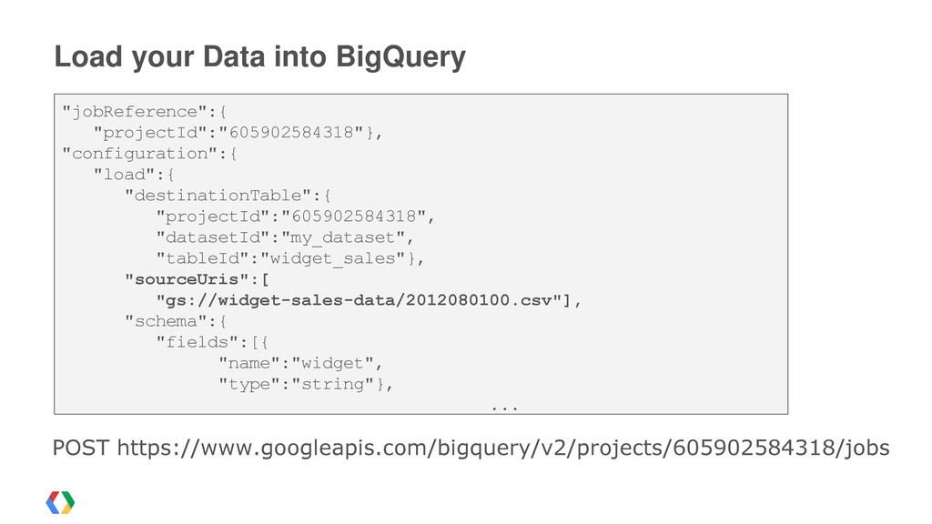 """Load your Data into BigQuery """"jobReference"""":{ """"..."""