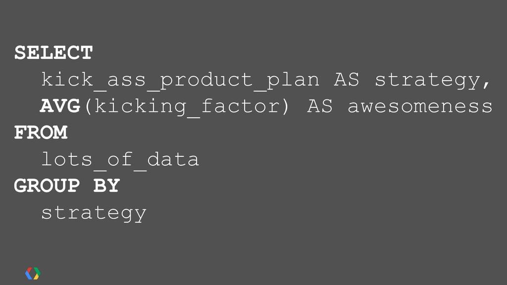 SELECT kick_ass_product_plan AS strategy, AVG(k...